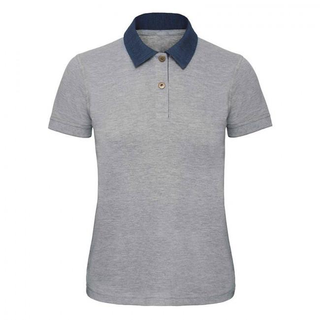 Womens Denim/Grey Contrast Polo
