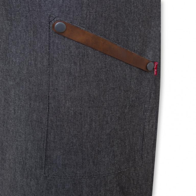 Black Denim Bib Apron w/ Leather Detailing
