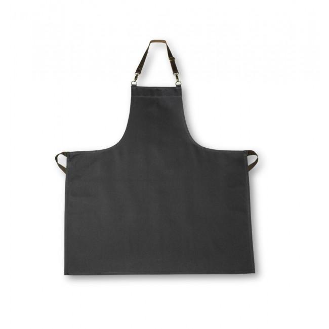 Slate Grey Bib Apron w/ Adjustable Leather Strap