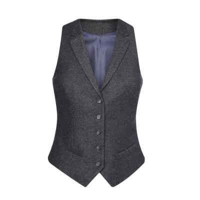 Women's Charcoal Herringbone Waistcoat