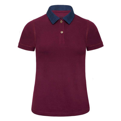 Womens Denim/Burgundy Contrast Polo