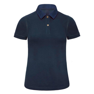 Womens Denim/Navy Contrast Polo
