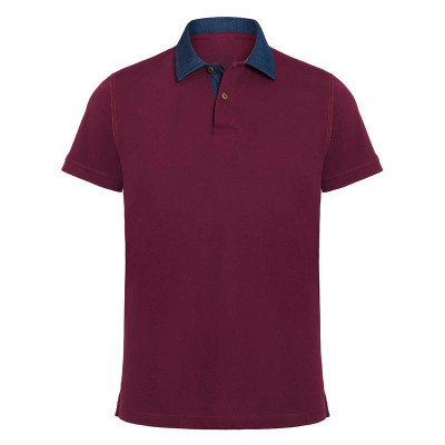 Mens Denim/Burgundy Contrast Polo