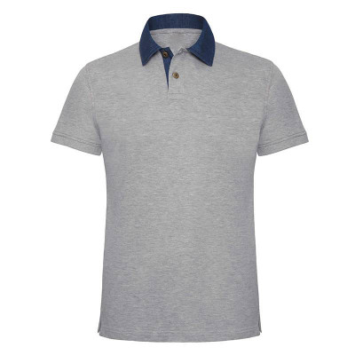 Mens Denim/Grey Contrast Polo