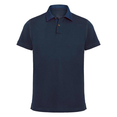 Mens Denim/Navy Contrast Polo