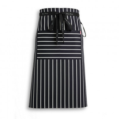 Navy and White Butchers Waist Apron
