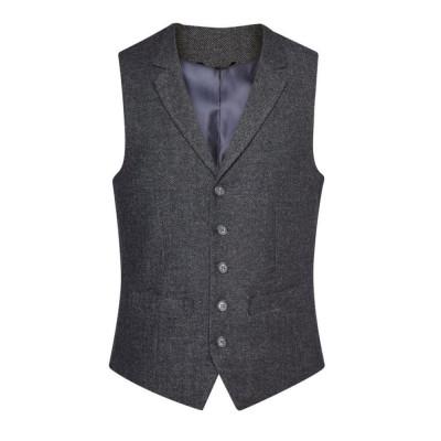 Men's Charcoal Herringbone Waistcoat