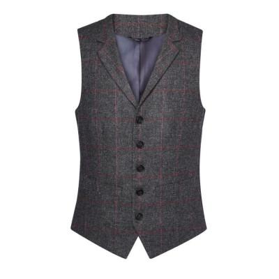 Men's Charcoal/Pink Check Waistcoat