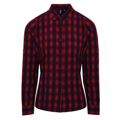 Red/Navy Check Blouse