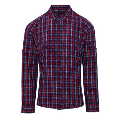 Navy/Red Check Blouse