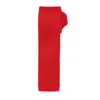 Red Slim Knitted Tie