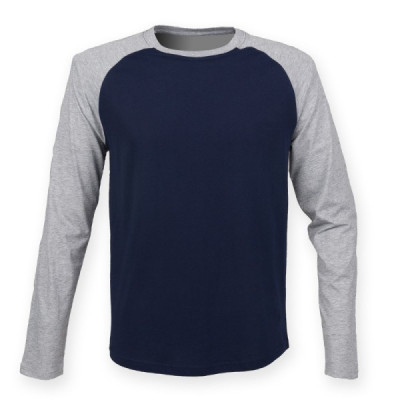 Mens Navy/Grey Baseball T-Shirt
