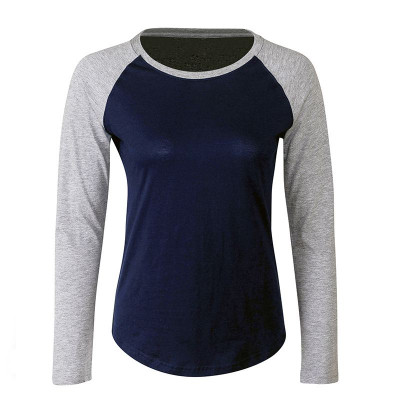 Womens Navy/Grey Baseball T-Shirt