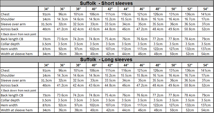 Suffolk Size Guide